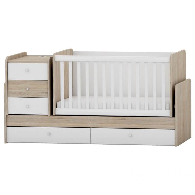 Πολυμορφικό Κρεβάτι Κούνια Arbor Baby Junior Δρυς Sonoma Λευκό (Δώρο Στρώμα Greco Strom Koκοφοίνικα)