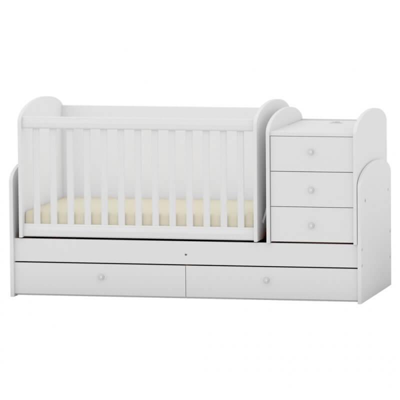 Πολυμορφικό Κρεβάτι Κούνια Arbor Baby  Junior Λευκό (Δώρο Στρώμα Greco Strom Koκοφοίνικα)