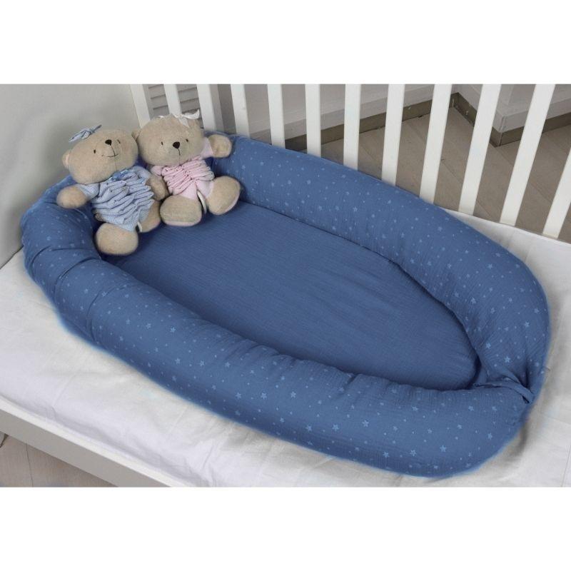 Βρεφική Φωλιά Διπλής Όψης Baby Oliver Μουσελίνα Μπλε
