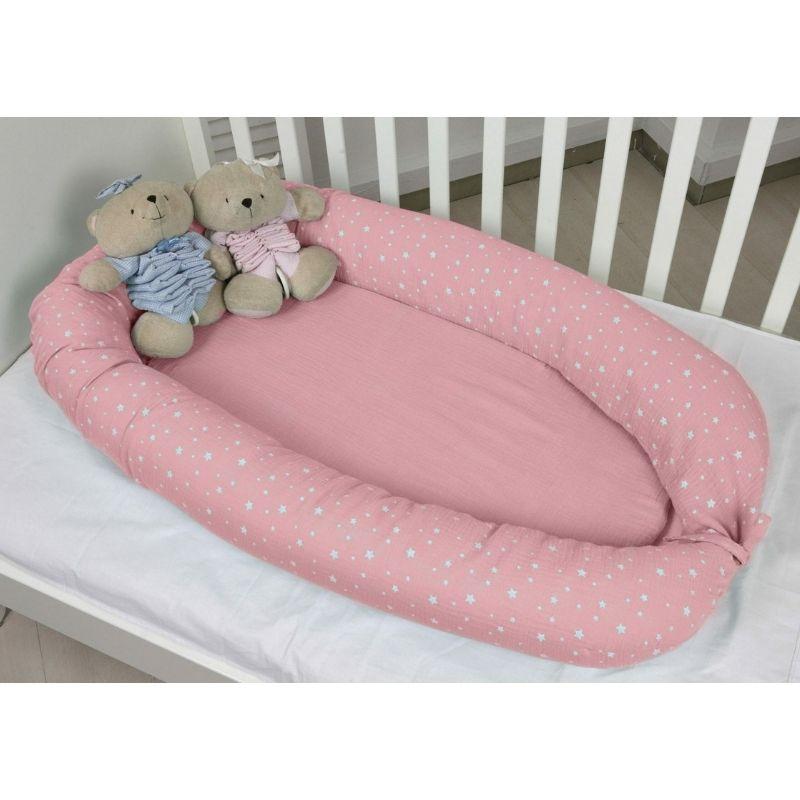 Βρεφική Φωλιά Διπλής Όψης Baby Oliver Μουσελίνα Ροζ