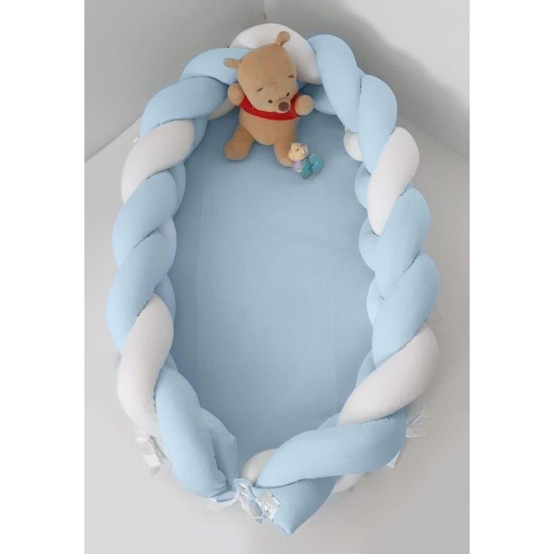 Βρεφική Φωλιά Baby Oliver με αποσπώμενη Πλεξούδα Λευκή Σιέλ