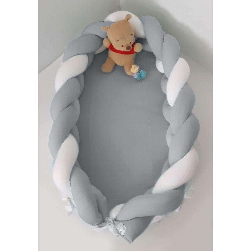 Βρεφική Φωλιά Baby Oliver με αποσπώμενη Πλεξούδα Λευκή Γκρι