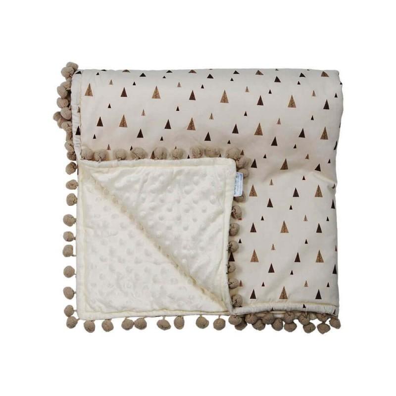 Κουβέρτα fleece με pom-pom Bebe Stars Fox