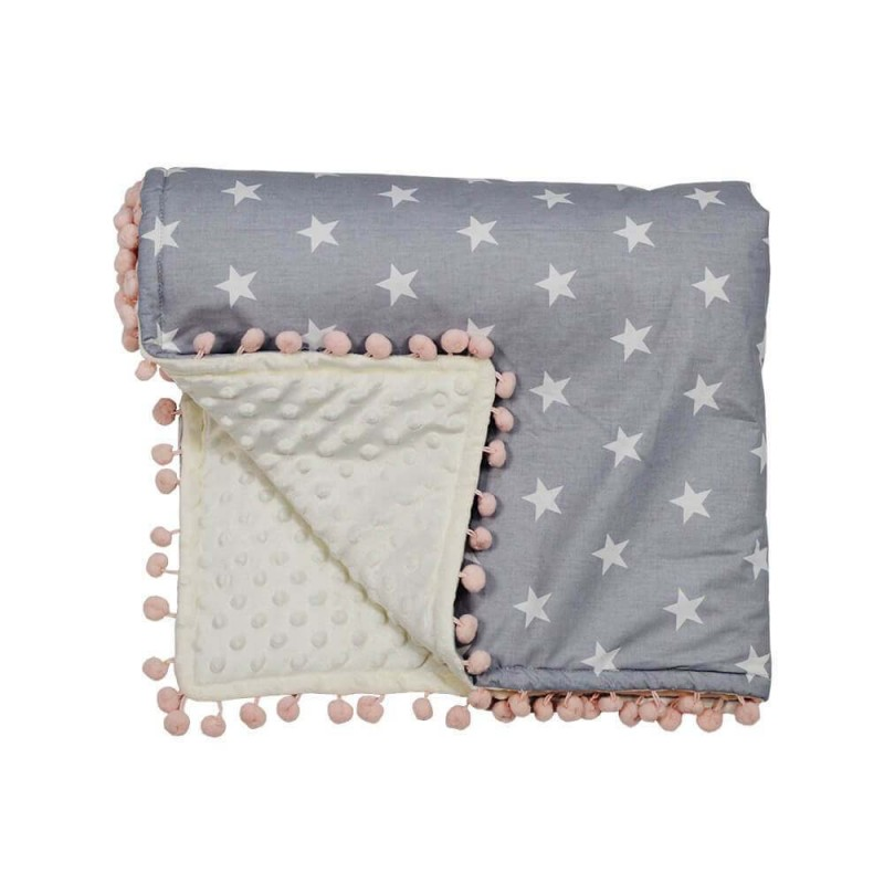 Κουβέρτα fleece με pom-pom Bebe Stars Stars