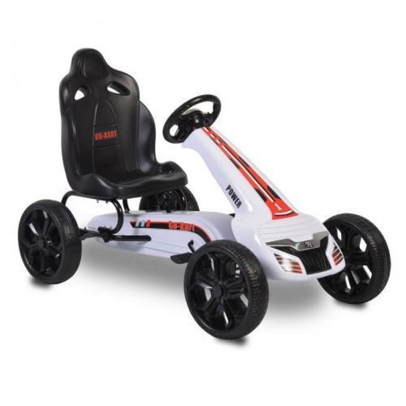 Παιδικό Αυτοκινητάκι Moni Go Kart με πετάλια Eva Wheels Olympus White