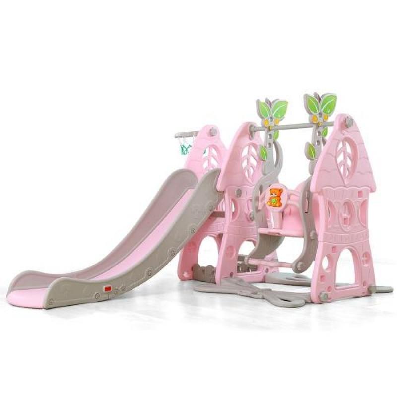 Τσουλήθρα με κούνια & μπασκέτα Moni Wonder 3 in 1 18009 Pink