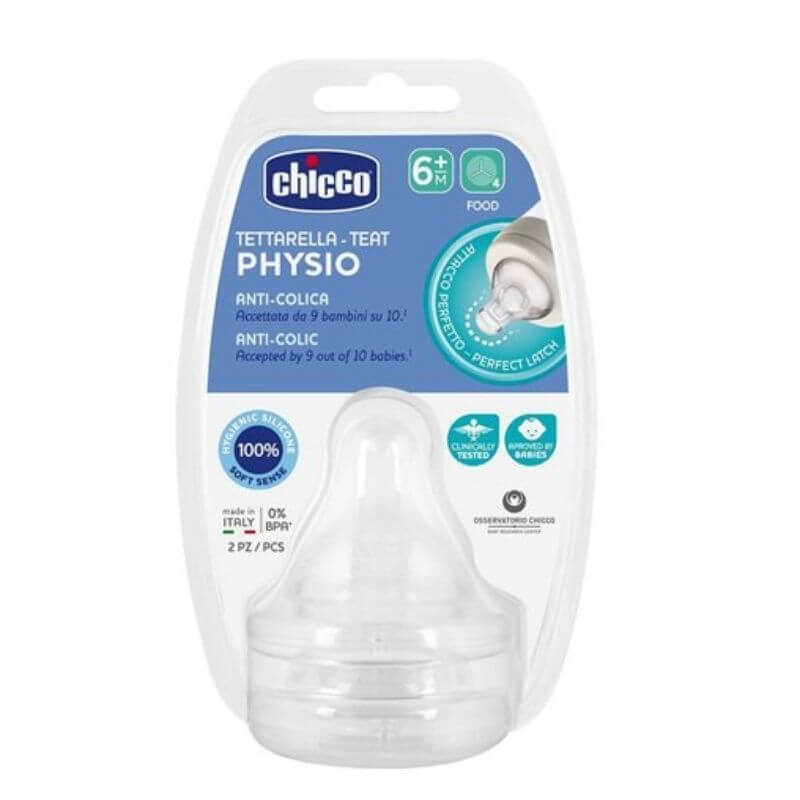 Θηλή σιλικόνης Chicco Physio Anti-Colic Ροή Φαγητού 6m+ (2τμχ)