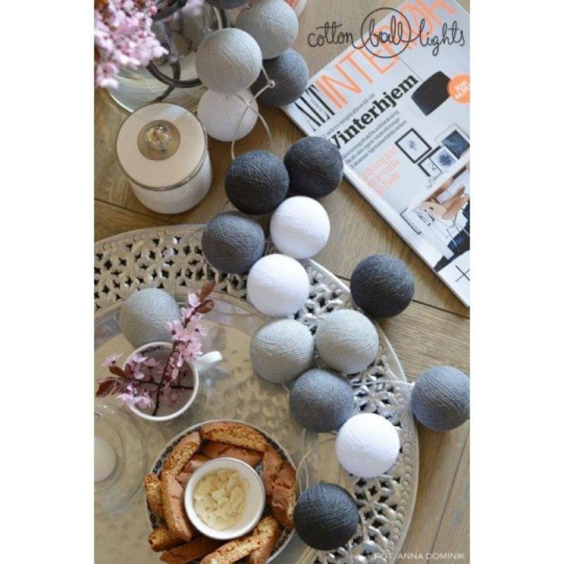 Διακοσμητικά Φωτάκια LED Cotton Ball Lights (20τμχ) Grey Shadow