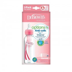 Πλαστικό Μπιμπερό Dr.Brown's™ Options+ με στενό λαιμό 250ml Ροζ (2 τεμ.)