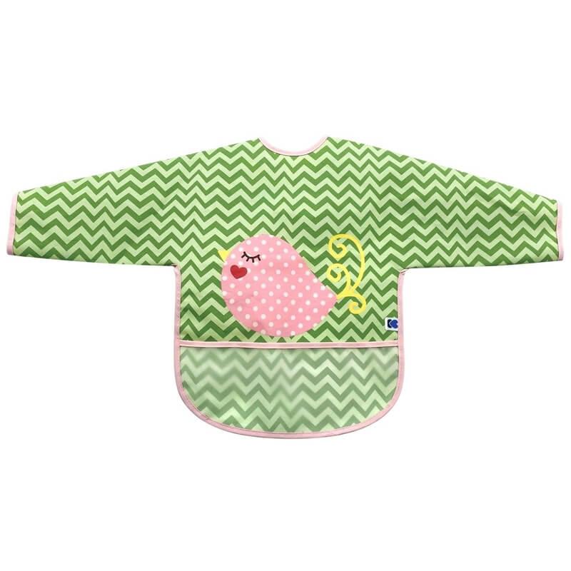 Αδιάβροχη Σαλιάρα με μανίκια Kikka boo Bird Green