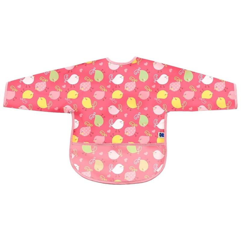 Αδιάβροχη Σαλιάρα με μανίκια Kikka boo Birds Pink