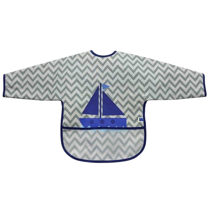Αδιάβροχη Σαλιάρα με μανίκια Kikka boo Boat Grey