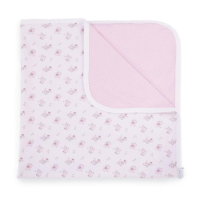 Κουβέρτα Αγκαλιάς Kikka boo Jersey Pink Flowers (80x80)