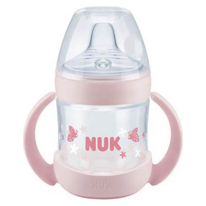 Μπιμπερό εκπαίδευσης NUK Nature Sense με λαβές 6-18m 150ml Pink