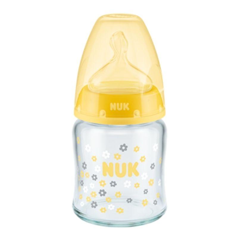 Μπιμπερό γυάλινο NUK First Choice Plus 120ml με θηλή Silic Yellow