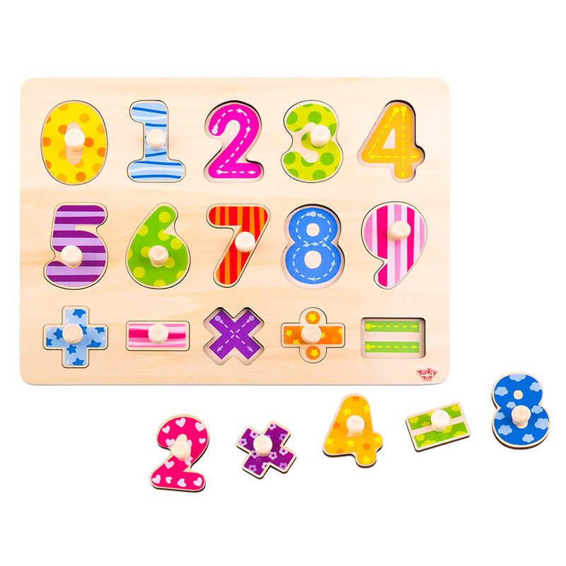 Ξύλινο Εκπαιδευτικό Puzzle Tooky Toy Numbers (15τμχ.)
