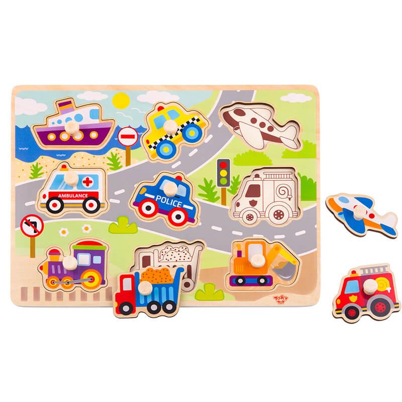 Ξύλινο Εκπαιδευτικό Puzzle Tooky Toy Vehicle (9τμχ.)