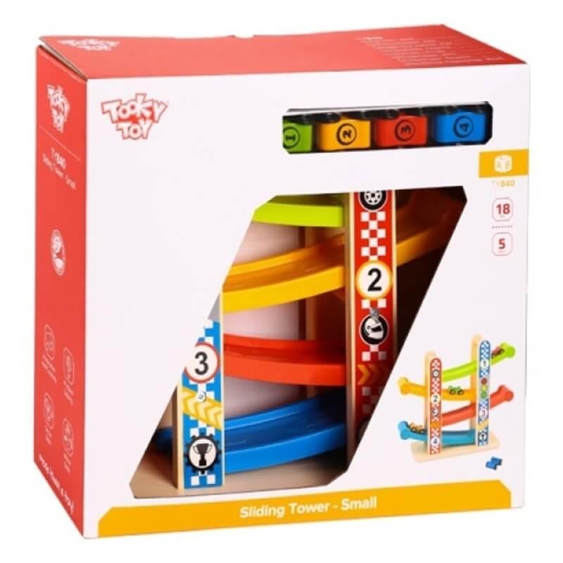 Ξύλινη Πίστα με Αυτοκινητάκια Tooky Toy TY840 Sliding Tower