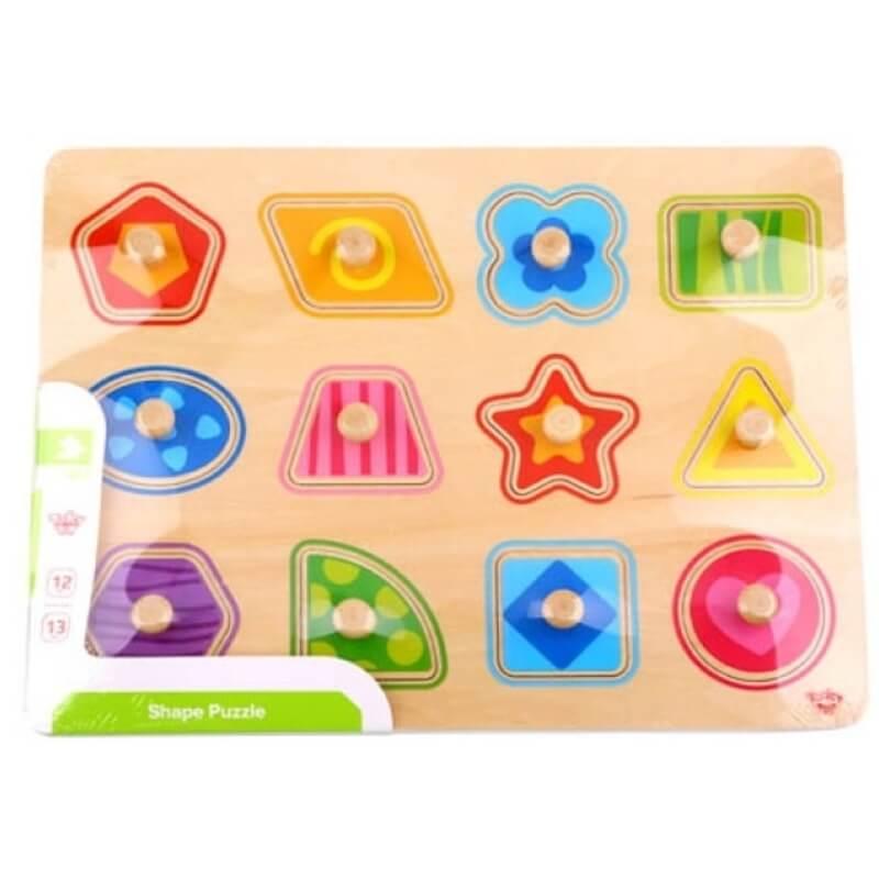 Ξύλινο Εκπαιδευτικό Puzzle Tooky Toy Shapes (12τμχ.)