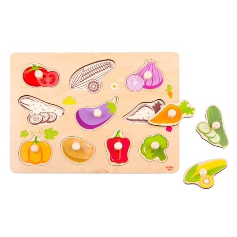 Ξύλινο Εκπαιδευτικό Puzzle Tooky Toy Vegetables (10τμχ.)