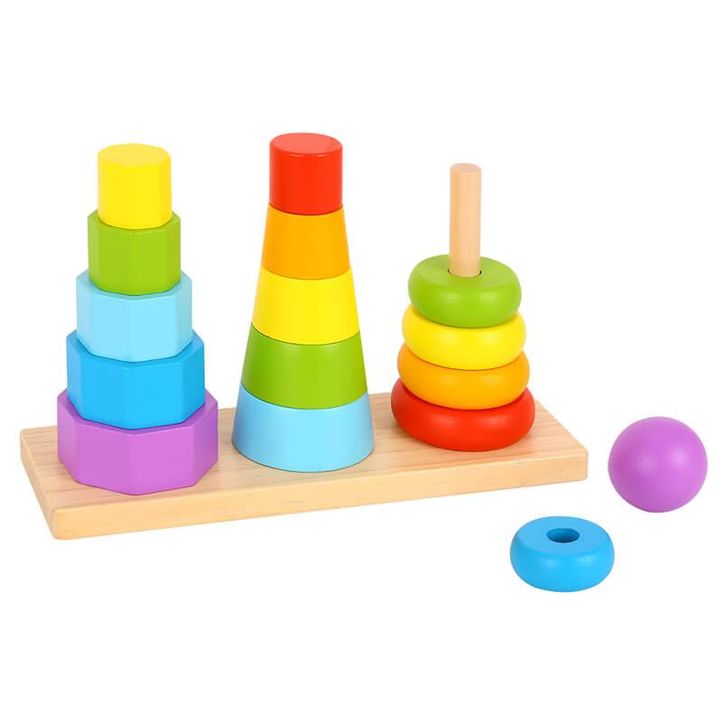 Ξύλινοι Πύργοι Στoίβαξης Tooky Toy TKF008A Shape Sorter