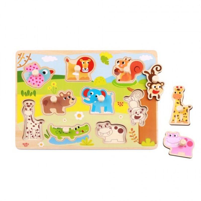 Ξύλινο Εκπαιδευτικό Puzzle Tooky Toy Animals (9τμχ.)