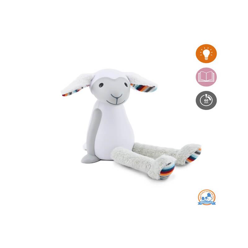 Παιδικό πορτατίφ Προβατάκι, φώς νυκτός & ανάγνωσης LED, με USB ZAZU Fin Grey