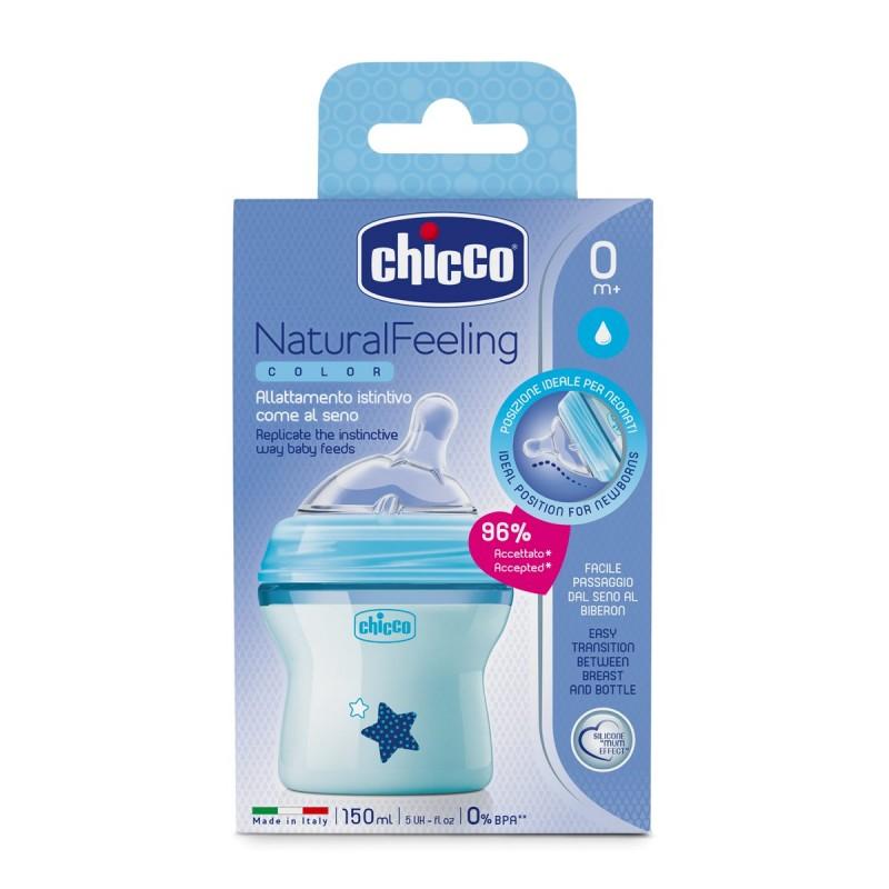 Μπιμπερό πλαστικό, θηλή σιλικόνης Chicco Natural Feeling 150ml Μπλε