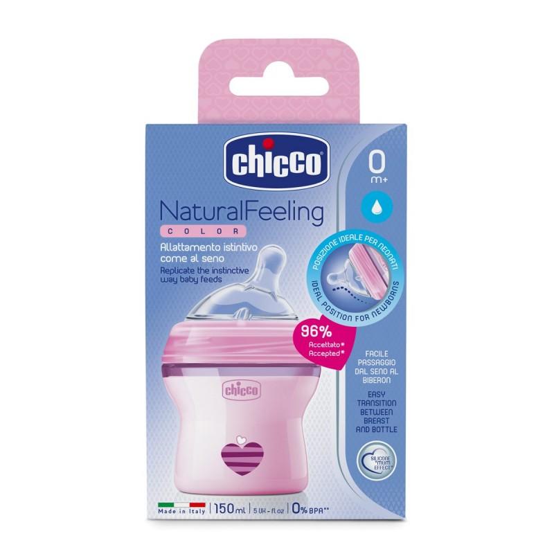 Μπιμπερό πλαστικό, θηλή σιλικόνης Chicco Natural Feeling 150ml Ροζ