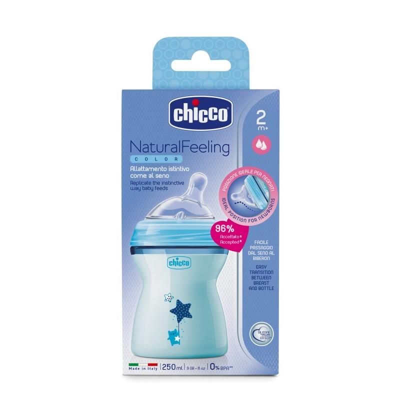 Μπιμπερό πλαστικό, θηλή σιλικόνης Chicco Natural Feeling 250ml Μπλε
