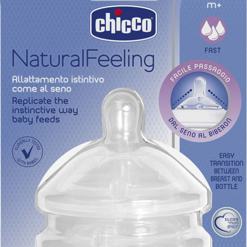 Θηλή σιλικόνης Chicco Natural Feeling Γρήγορη Ροή 6m+ (2τμχ)