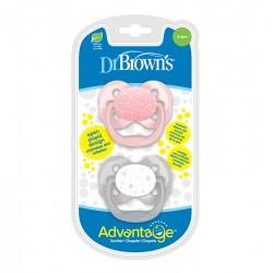 Πιπίλα Σιλικόνης Dr. Brown's Advantage 0-6m, Ροζ - Γκρι 2τμχ