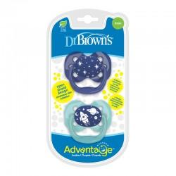 Πιπίλα Σιλικόνης Dr. Brown's Advantage 0-6m, Γαλάζιο-Μπλε 2τμχ