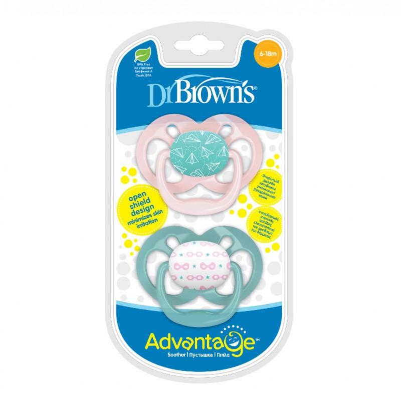 Πιπίλα Σιλικόνης Dr. Brown's Advantage 6-18m, Ροζ - Βεραμάν 2τμχ