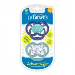 Πιπίλα Σιλικόνης Dr. Brown's Advantage 6-18m, Μπλε - Βεραμάν 2τμχ
