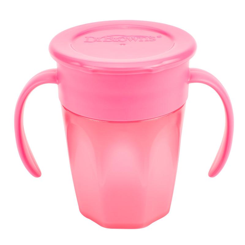 Κύπελλο Dr.Brown's Cheers 360 με καπάκι και λαβές 200ml Ροζ