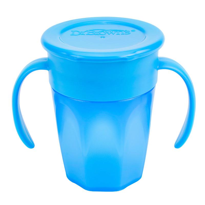 Κύπελλο Dr.Brown's Cheers 360 με καπάκι και λαβές 200ml Μπλε